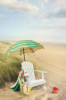 Photograph - Adirondack Chair And Umbrella By The Seaside by Sandra Cunningham
