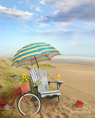 Photograph - Adirondack Chair With Bicycle And Umbrella By The Seaside by Sandra Cunningham