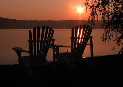 Adirondack Chairs-1 Art Print by Michael Mooney