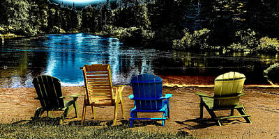 Color Photograph - Adirondack Chairs Along The Moose River by David Patterson