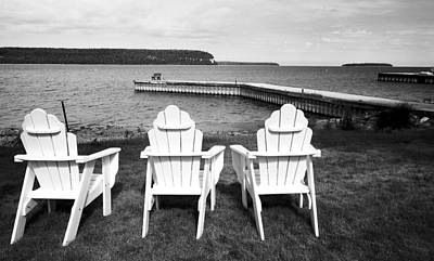 Adirondack Chairs And Water View At Ephriam Art Print by Stephen Mack