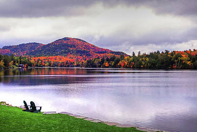 Photograph - Adirondack Chairs In The Adirondacks. Mirror Lake Lake Placid Ny New York Mountain by Toby McGuire