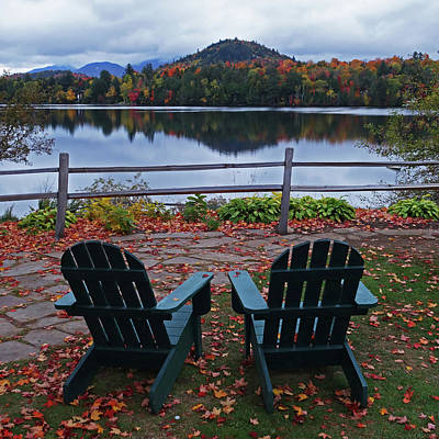 Photograph - Adirondack Chairs In The Adirondacks. Mirror Lake Lake Placid Ny New York Reflection by Toby McGuire