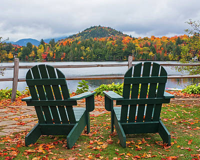 Photograph - Adirondack Chairs In The Adirondacks. Mirror Lake Lake Placid Ny New York by Toby McGuire