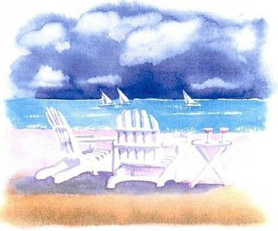 Cape Cod Painting - Adirondack Chairs by Joseph Gallant
