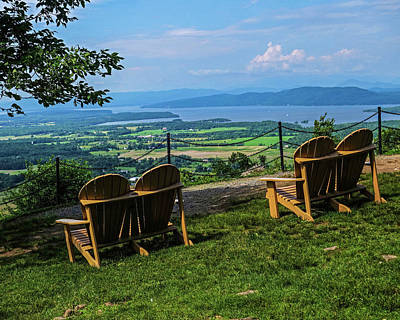 Photograph - Adirondack Chairs Overlooking The Adirondacks From Mount Philo Vermont by Toby McGuire