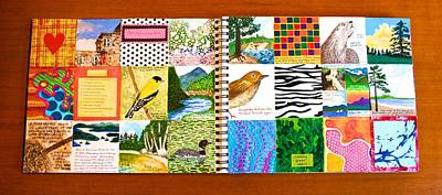 Mixed Media - Adirondacks Box-a-day Artist's Journal Page Spread by Polly Castor