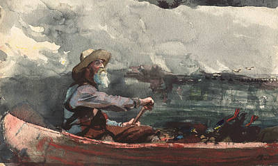 Canoes Painting - Adirondacks Guide by Winslow Homer
