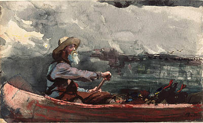 Winslow Homer Drawing - Adirondacks Guide by Winslow Homer