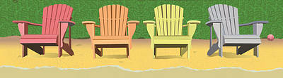 Wall Art - Painting - Adirondacks On The Beach by Marian Federspiel