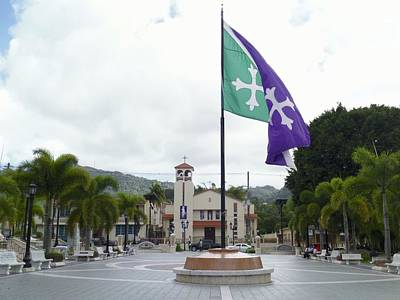 Photograph - Adjuntas, Puerto Rico Flag by Walter Rivera Santos