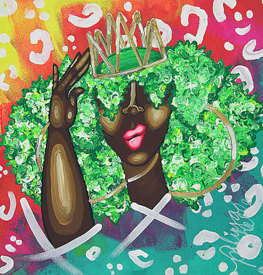 African American Art Painting - Adjusting My Mfkn Crown by Aliya Michelle