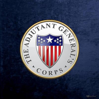 Digital Art - Adjutant General's Corps - Ag Corps Branch Insignia Over Blue Velvet by Serge Averbukh