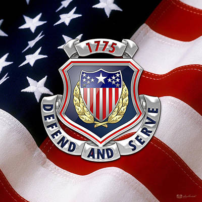Digital Art - Adjutant General's Corps - Ag Corps Regimental Insignia U. S. Flag  by Serge Averbukh