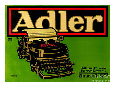 Digital Art - Adler Typewriter Ad From 1909 by Peter Ogden Collection