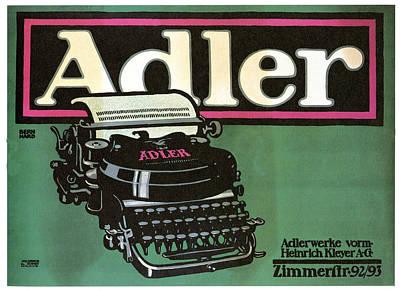 Royalty-Free and Rights-Managed Images - Adler Typewriter - Vintage Typewriter - Retro Advertising Poster by Studio Grafiikka