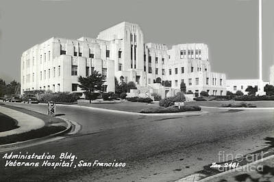 Photograph - Administration Bldg, Veterans Hospital, San Francisco Circa 1945 by California Views Archives Mr Pat Hathaway Archives