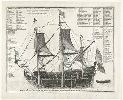 Drawing - Admiraalschip   In Doorsnede  Ca  1700  Anonymous  1690    1710 by R Muirhead Art