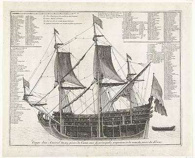 Drawing - Admiraalschip   In Doorsnede  Ca  1700  Anonymous  1690    1710 by R Muirhead Art