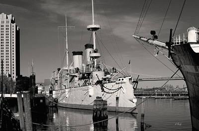 Admiral Dewey's Flagship Monochrome Print by Gordon Beck
