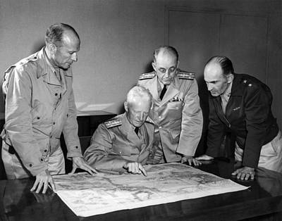 Photograph - Admiral Nimitz Strategy Session - World War Two - 1942 by War Is Hell Store