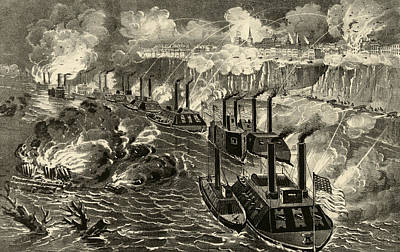 Steamboat Drawing - Admiral Porter's Fleet Running The Rebel Blockade Of The Mississippi At Vicksburg by American School