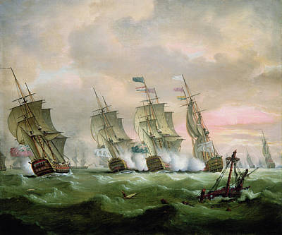 Admiral Sir Edward Hawke Defeating Admiral De Conflans In The Bay Of Biscay Art Print