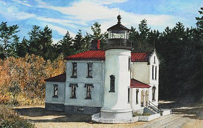 Historic Lighthouse Painting - Admiralty Head by Perry Woodfin