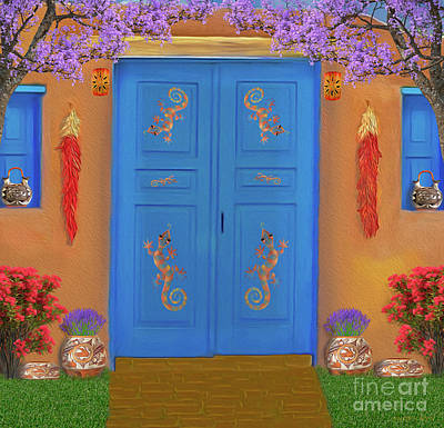 Digital Art - Adobe Blue Door by Walter Colvin
