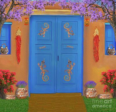 Digital Art - Adobe Blue Door by Walter Colvin