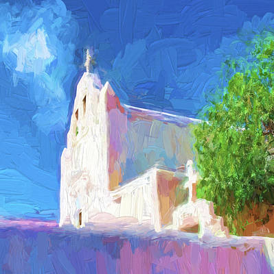 Art Print featuring the digital art Adobe Church by OLena Art Brand