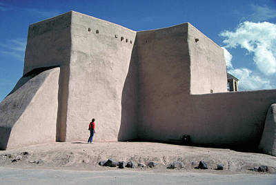 Winter Animals - Adobe Church at Taos in New Mexico by Carl Purcell