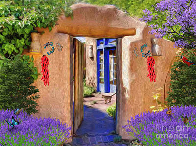 Digital Art - Adobe Door by Walter Colvin