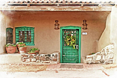 Photograph - Adobe Entrance Green Door by Gabriele Pomykaj