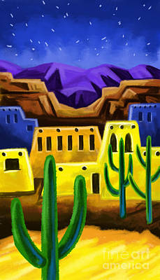 Painting - Adobe In The Desert by Tim Gilliland