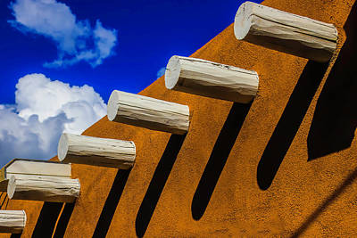 Adobe Wall With White Beams Art Print