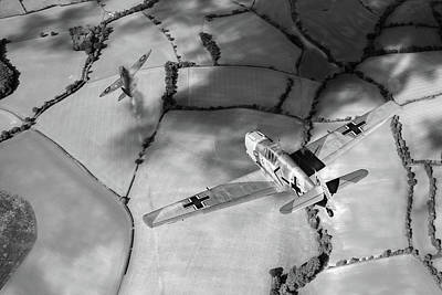 Photograph - Adolf Galland Attacking Spitfire Bw Version by Gary Eason