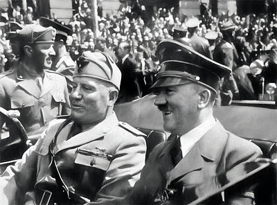 Photograph - Adolf Hitler And Benito Mussolini - Remastered by Carlos Diaz