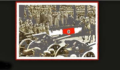 Adolf Hitler Reviewing Parade Of His Troops Warsaw Poland 1939 Color And Frames Added 2016 Art Print by David Lee Guss