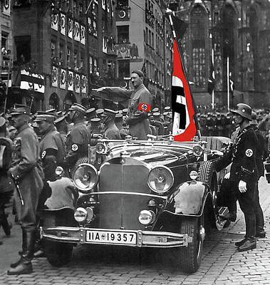 Photograph - Adolf Hitler Saluting Marching Troops From A Mercedes Nuremberg Germany 1935 by David Lee Guss