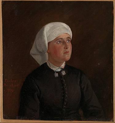 Adolph Tidemand - Portrait Of Elseberg Herrestvedt.. Art Print by Celestial Images