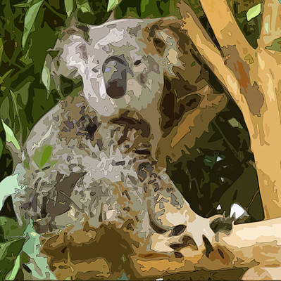 Geometric Giraffe Digital Art - Adonis Koala by Udai Singh