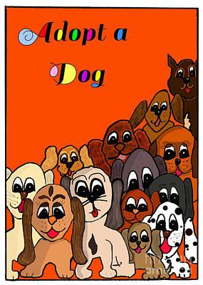 Adopt A Dog  Art Print by Debbie Davidsohn
