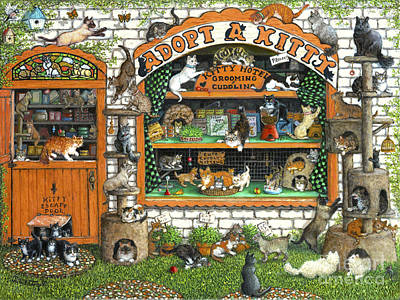 Painting - Adopt-a-kitty by Janet  Kruskamp