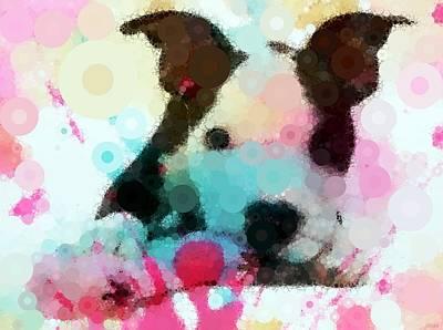 Dogs Digital Art - Adopt A Pit Bull - Mosaic Abstract by Katrina Britt