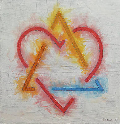 Love Triangle Painting - Adoption Symbol by Michael Creese