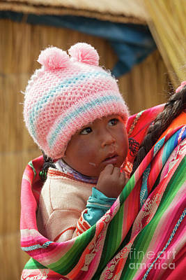 Photograph - Adorable Baby In Colorful Cloth In Peru by Patricia Hofmeester