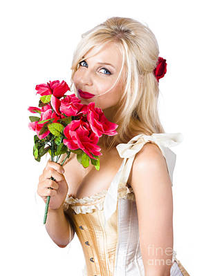 Youthful Photograph - Adorable Florist Woman Smelling Red Flowers by Jorgo Photography - Wall Art Gallery