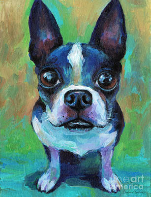 Dog Portrait Painting - Adorable Boston Terrier Dog by Svetlana Novikova