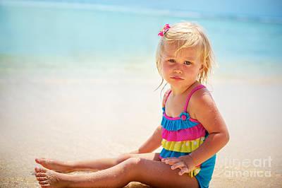 Photograph - Adorable Little Girl On The Beach by Anna Om